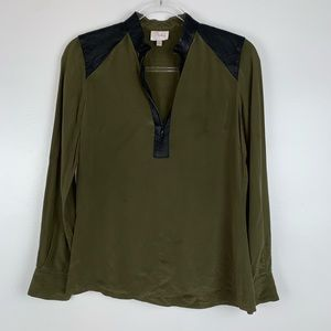Parker Leather Trimmed Silk Blouse Small O3505